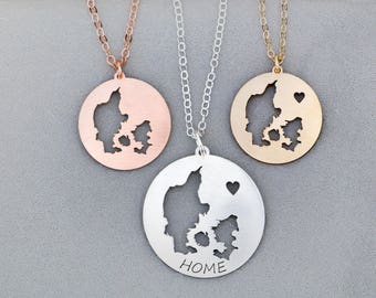 Denmark Jewelry Europe • Necklace Denmark Gift European Charm • Map Necklace Country Danish Vacation Europe Pendant Country Charm