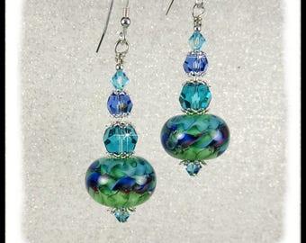 2245, Teal, green, blue and purple artisan lampwork glass earrings, lampwork earrings with teal and green crystals, artisan lampwork beads