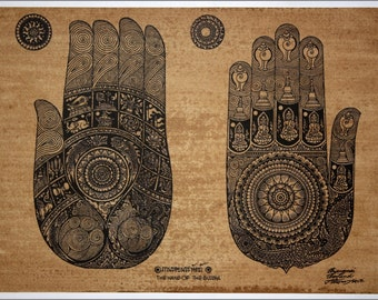 Thai traditional art of Hand Of The Buddha by printing on sepia paper