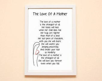 The Love Of A Mother Poem Print, Pregnancy Gift, Mother Print, Mother's Day, Gift For A Mother, Baby Shower, Mother Print,