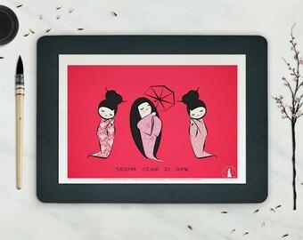 Affiche GEISHA TIME  - Poster Geisha, Poster Japon, Dessin Poupée - déco, Illustration, Art mural, poster typo, affiche asiatique, Fleurs