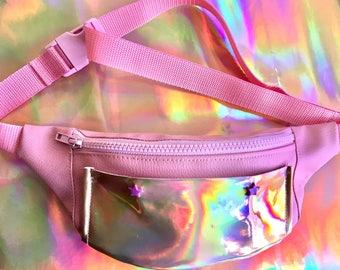 Pink & holographic bum bag