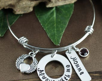 Memorial Bangle Bracelet, Always With Me Bracelet, Angel Wing Bracelet, Wing Charm Bracelet, Loss of Mother, Sympathy Gift, Gift for Her