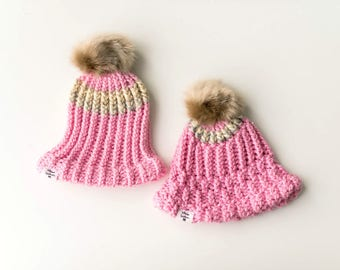 Mommy and Me Pastel Pink and Creme Blend Pom Beanie Set