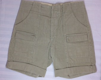 1970's corduroy bush pants cuffed shorts measures 30 inch waist 6 pocket Talon zipper pale olive green beige