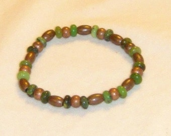 Chrysoprase and Metal Bead Bracelet