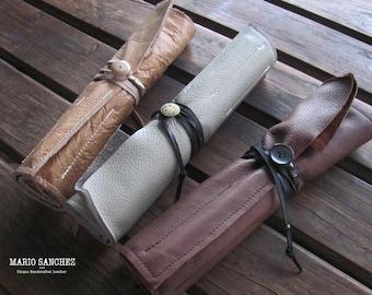 Full grain Upholstery Genuine Cow leather Brush Rolls