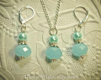 Aqua Blue Bridesmaid Earrings and Necklace Set -- Chalcedony-Blue Crystal Earrings and Necklace Set -- Bridesmaid Set -- Bridesmaid Gift