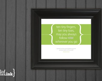 Nursery Print (green, pink, blue, or orange)  Proverbs 16:3 - 8 x 10 Print