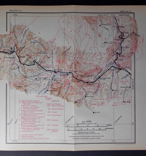 1915 Railroad Map Butte Silver Bow Skones Whitehall Three