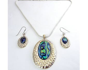 Sterling Silver & Abalone Modernist Pendant Necklace and Drop Earrings