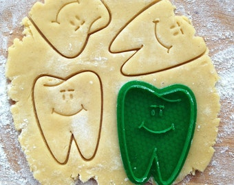 Tooth cookie cutter. Smiling tooth cookies. Dental hygienist gift