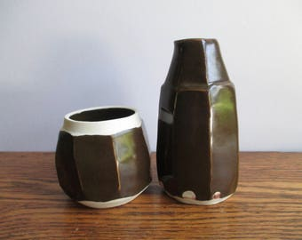 Vintage Brown and White mab Pottery Cream and Sugar Set