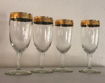 Small Goblet Glasses Set of 4 Vintage Champagne Gold Rim Vintage Distressed Glassware Barware Wedding Stemware Small Wine Glass