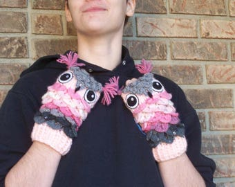 Owl Fingerless Mitts-Hand Crocheted-Pink to Gray Shades
