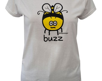 Womens Buzz BEE fitted white T.shirt.