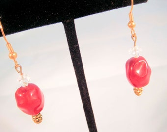 Gold Toned Vintage Red Bead Upcycled Earrings