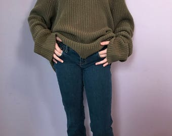 Vintage, Cozy, Oversize, Olive Green, Cable Knit Sweater