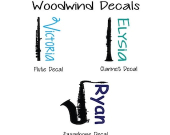 Woodwind Decals, Flute Decal, Clarinet Decal, Saxophone Decal