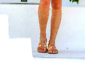 LEATHER SANDALS from Full Grain Leather Handmade in Natural - Gold - Black Color