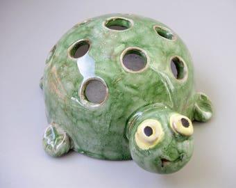 Rare vintage ceramic pencil holder,turtle