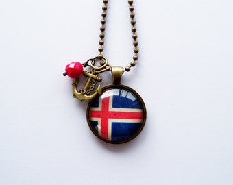 Flag of Iceland - Pendant Necklace - You Choose Bead and Charm - Patriotic Jewelry - Custom Jewelry - Travel Necklace - Blue Red and White