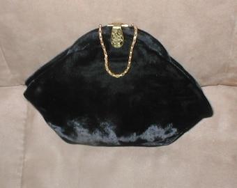 Antique Vintage Black Velvet Evening Bag Purse
