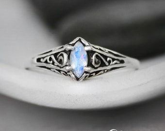 Rainbow Moonstone Engagement Ring - Sterling Silver Marquise Engagement Ring - Vintage-Style Filigree Engagement Ring - Moonstone Ring