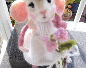 Girl Mouse Doll and Flowers; Needle Felted, Heirloom Collectible, /Priscilla; A Song and a Dance