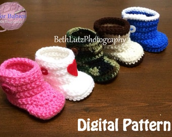 Newborn Crochet Pattern, Baby Boots, Newborn Pattern, Booties Pattern, Crochet Newborn Booties Pattern, Crochet Baby Booties, Digital Item.