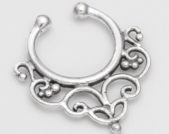 Fake sterling silver septum ring. septum piercing. faux septum. septum ring 18g. faux septum ring.