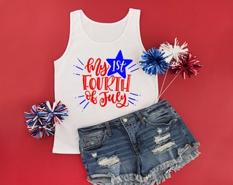 My First Fourth Shirt My 1st Fourth Tank Top Girls Fourth of July Outfit Baby Girls 4th of July 4th of July Shirt Fourth of July Tank