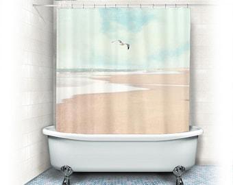 "Ocean Fabric Shower Curtain ""Soaring"",beach, aqua home decor,teal,turquoise,pastel,nautical decor,seagull,seashore"