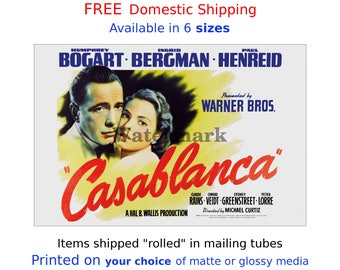 Vintage Movie Poster Film Lobby Card Print - Casablanca #3  - Humphrey Bogart, Ingrid Bergman (491993054)