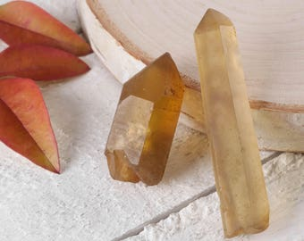 Two Small Raw CITRINE Crystal Points - Untreated Citrine, Natural Citrine Point, Facet Grade, Healing Crystal, Citrine Jewelry Making E0424