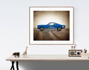 Vintage Muscle Car Photo Print , Blue 65 Mustang Shelby GT, Boys Wall Art, Car Prints, Boys Wall Art, Boys Room Decor