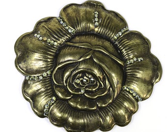 Antiqued Brass Rose Brooch with Crystals