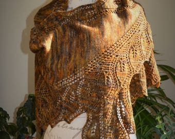 Hand Knit Leaf Shawl in Brown, Gold Wool with Beads