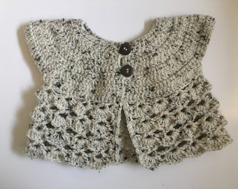 Two Button Crochet Baby Girl Cardigan, 9-12 months