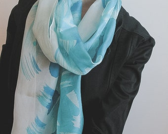 Azure and Aqua Silk Scarf - hand painted brushstrokes - long silk scarf, unique gift for her