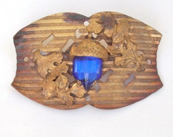 Large Antique Brooch, Gilded Brass, Blue Crystal, Victorian c. 1880s