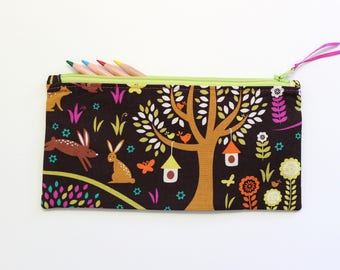 Woodland Animals Zipper Pouch, Pencil Case, Pencil Pouch, Gifts Under 20, Cute School Supplies