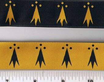 Erminois - Pean - Gold & Black Ribbon - SCA Heraldry Trim