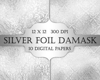 Silver Foil Damask Digital Paper - silver, floral, grey damask, metallic printable backgrounds, scrapbooking, wedding invitations, cards