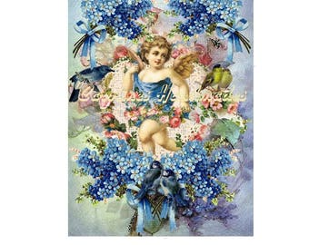 "Blue Angel Collage Cotton Fabric Quilt Block (1) @ 5X7"" on 8.5X11"" Sheet"