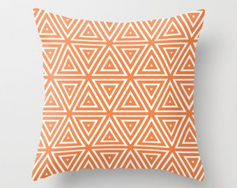 Triangle pillow, geometric pillow, decorative throw pillow, orange blue green yellow gray Modern design accent cushion Home decor
