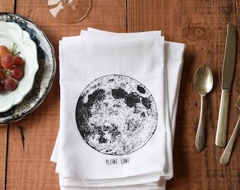 Cloth Napkins - Organic Cotton Cloth Napkins - Dinner Napkins - Moon Phase - Cotton Napkins - Reusable Napkins - Full Moon - Tea Towel Set