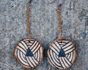 Pendant Woodburning Earrings * Made to order