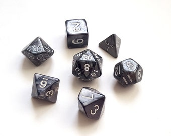 Marbled Gray Polyhedral Dice Set