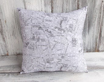 Paris pillow cushion, city street map in black and white, stuffed throw for home decor